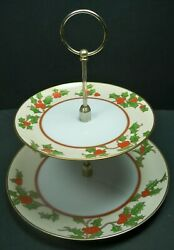 Vintage Fitz And Floyd Boughs Of Holly Two Tiered Tid Bit Christmas Snack Tray