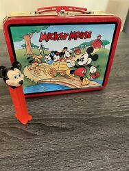 Vintage Mickey Mouse Metal Lunch Box Disney 1996 Collectible Rare Pez Toy Inside