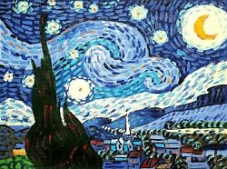 Van Gogh, Starry Night, 12x16 Hand Painted Oil Painting, Reproduction On Canvas