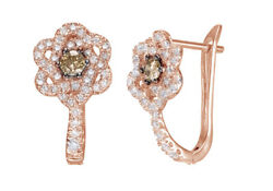 0.62 Ct Champagne And White Natural Diamond Flower Hoop Earrings 10k Rose Gold