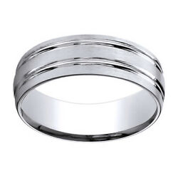 18k White Gold 7mm Comfort Fit Satin Finish Parallel Grooves Band Ring Sz 12