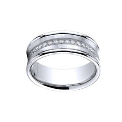 1/3 Ct 7.5mm Comfort-fit Pave Set 16-stone Diamond Ring In 18k White Gold