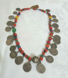 North African Tribal Jewel Silver Coins Glass Beads And Amber