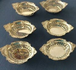 6 Sterling Silver Gorham Nut Bowls Pierced Reticulated, A4780, Cromwell