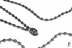 Skull Design Ruby Beaded Necklace Silver Gothic Jewelry