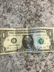 Rare 2009 1 One Dollar Bill Cool Serial Number