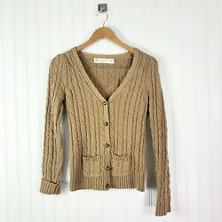 Zara Cable Knit Button Down Cardigan Camel Women's Size Small Retail $78.99