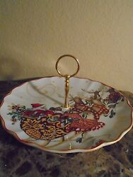 New Williams Sonoma Twas The Night Before Tidbit Gold Handle Round Serving Tray