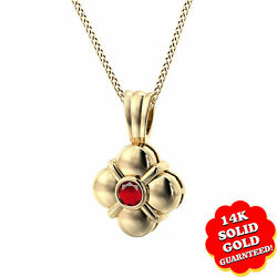 1/6 Ct Round Cut Ruby Birthstone 14k Yellow Gold Pendant W/chain Necklace