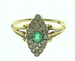 Antique 18 Carat Yellow Gold Emerald And Diamond Marquise Cluster Ring Size M 1/2