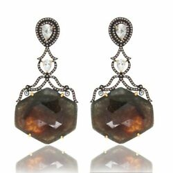 61.23 Ct Slice Sapphire White Topaz And Diamond 18k Gold And Sterling Earrings