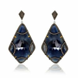 110.56 Ct Blue Slice Sapphire And Diamond 18k Gold And Sterling Drop Earrings