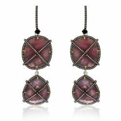 66.82 Ct Brown Slice Sapphire And Diamond 18k Gold And Sterling Dangle Earrings