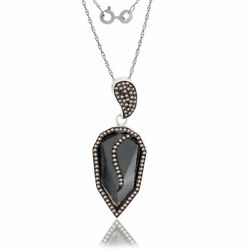 16.17 Ct Black Rough And Brown Diamond 18k Gold And Sterling Drop Pendant 18 Chain