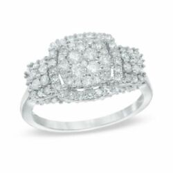 1 Ct Natural Diamond Cluster Double Frame Engagement Ring In 10k White Gold