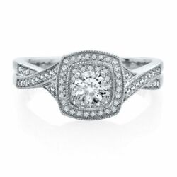 Natural Diamond Story 1/2 Ct Natural Diamond Engagement Ring In 14k White Gold