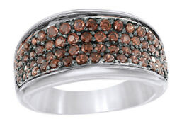 0.87 Ct Round Cut Brown Real Diamond Four Row Engagement Ring In 10k White Gold