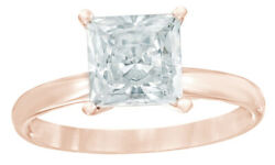 0.50 Ct Princess Cut Natural Diamond Solitaire Engagement Ring In 14k Rose Gold