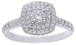 0.75 Ct Round Cut Diamond Double Square Frame Engagement Ring In 14k White Gold
