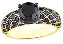 2.62 Ct Round Cut Black Natural Diamond Fancy Engagement Ring In 10k Yellow Gold