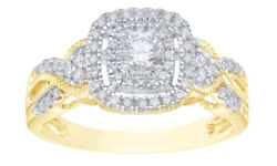 0.5 Ct Round Cut Diamond Frame Vintage-style Engagement Ring In 10k Yellow Gold