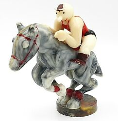 Vintage Caustic Plastic Toy Figurine Horse With Rider Ussr 1950s
