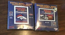 Wincraft 1998 Denver Broncos Super Bowl Xxxii 32 Champions Banner And Flag 28 X 42