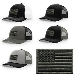 Richardson Cap  112 USA Flag Hook and Loop Patch designs  Charcoal Black Patch $25.00