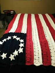 New Hand Made Crocheted Betsy Ross Flag Afghan Throw Extra Thick Heavy Christmas