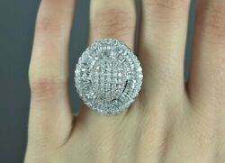 10500 18k White Gold 3.55ct Round Baguette Diamond Large Cocktail Ring Size 7