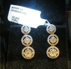 Clearance Nwt 5,500 18kt Gold Rare Magnificent Large Diamond Dangle Earrings