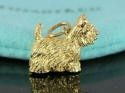 Tiffany & Co 18K Solid Yellow Gold Scottie Terrier Dog Pendant Bracelet Charm