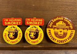 3 Lot Vintage I'm Helping Smokey The Bear Prevent Forest Fires Pin Button