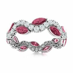 Marquise Cut Natural Tourmaline And Diamond Eternity Wedding Ring 14k White Gold