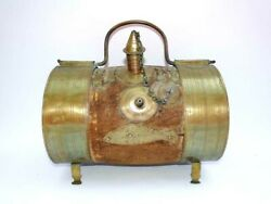 Rare Antique 19th Century Brass And Wood Keg Water Cooler / Canteen Dated 1897 Exc
