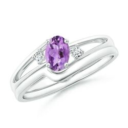 Split Shank Amethyst Engagement Ring With Wedding Band In Silver/gold/platinum