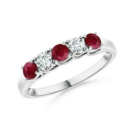 Half Eternity Five Stone Ruby And Diamond Wedding Band In Silver/gold/platinum