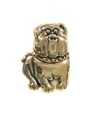 BULLDOG Pin Dog Silver amp; Gold Tone Brooch 1 1 16quot; high Signed