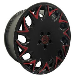 4 Gv06 20 Inch Staggered Black Red Rims Fits Ford Mustang Ecoboost I4 2015-19