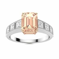 Emerald Cut Natural Morganite And Vs Diamond Engagement Ring In 14k White Gold