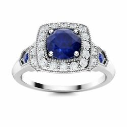 0.86 Carat Natural Blue Sapphire And Diamond Vintage Ring In Solid 14k White Gold