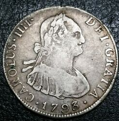1793 Pr Bolivia Cuzco Hoard 4 Reales Milled Silver Early World Colonial Piece