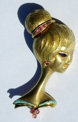 Antique 18K Gold Lady Woman Profile Art Deco Style Brooch Pin w (7) Ruby Vintage
