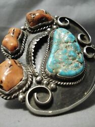 One Of Best Vintage Navajo Turquoise Chunky Coral Sterling Silver Bracelet