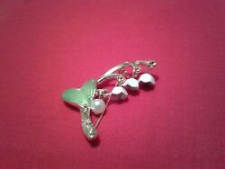 Lily Of The Valley Brooch Green Leaf Enamel Faux Pearl Gift New in Bag. #558p