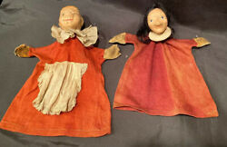 Antique Pair Papier And Wood Hand Puppet Punch And Suzanne Judy Madame Alexander