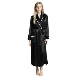 Womens Silk Satin Robe - Solid Color White Pipping