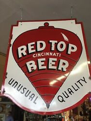Rare Large Red Top Beer Double Sided Porcelain Sign Circa 1931