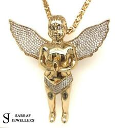 375 9ct Yellow Gold Ice Angel Girl Icy Shine Shiny Bling Rapper Only Pendant New