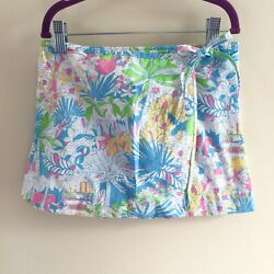 Lilly Pulitzer Girls Blue Pink Juice Stand Jungle Elephant Wrap Skirt Size 5T